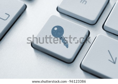 Access key on the keyboard. Toned Image. - stock photo