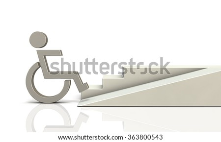 Access ramp for wheelchair users. isolated, computer generated image  - stock photo