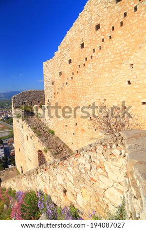 Access ramps to Palamidi Castle, a Venetian fortress built on top of the hill near Nafplio, Greece - stock photo