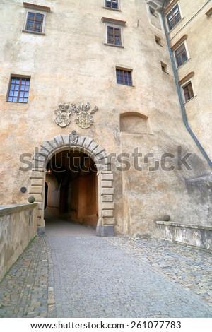 Access to the medieval castle in Cesky Krumlov, Czech Republic - stock photo