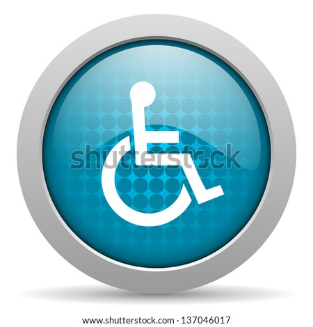 accessibility blue circle web glossy icon  - stock photo