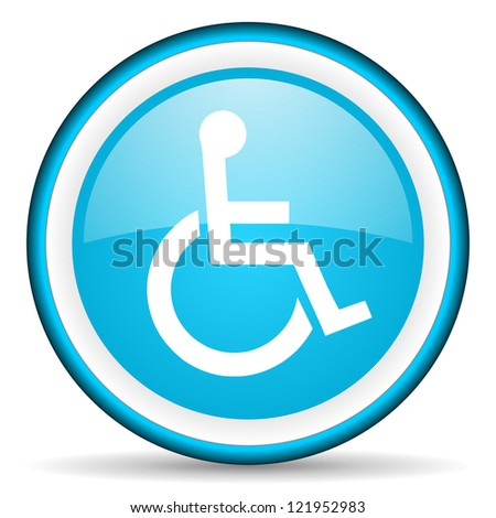 accessibility blue glossy icon on white background - stock photo