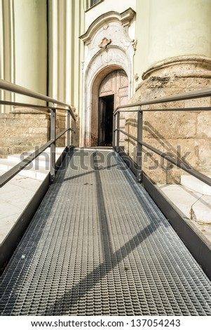 Accessible path to the entrance of a church - stock photo
