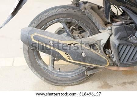 Accessories Exhaust Motorcycle is muddy mess up - stock photo