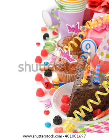Accessories for children's parties on a white background - stock photo