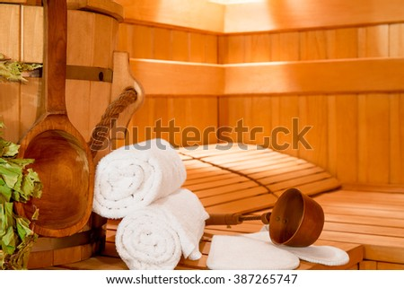 Accessories for relaxing in the sauna close-up on the seat - stock photo