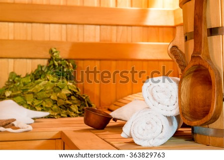 Accessories for sauna session close up - stock photo