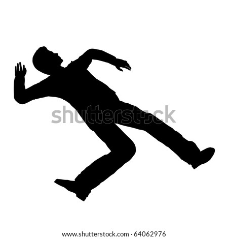 Accident person pose silhouette illustration - stock photo