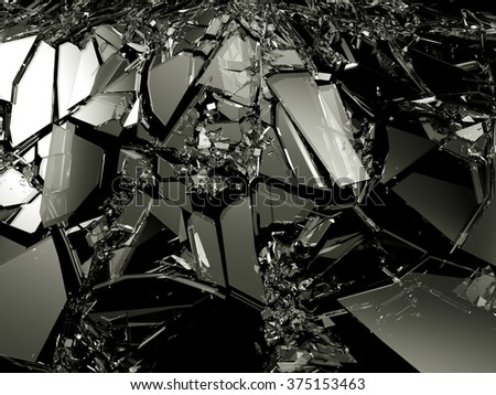 Accident: Pieces of broken glass over black. Large resolution - stock photo