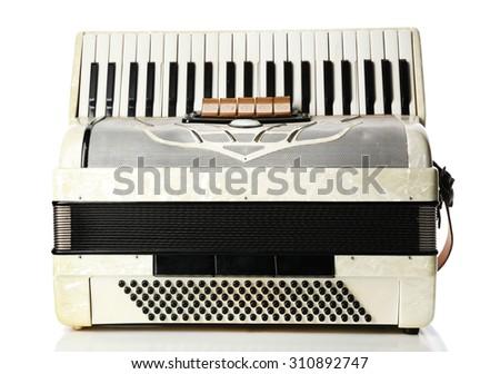 Accordion isolate on white - stock photo
