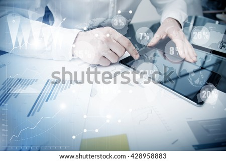 Account Department Work Online Process.Photo Trader working Market Report Documents Touching Screen Tablet.Using Graphics,Stock Exchanges Reports,Digital Interfaces.Business Project Startup.Horizontal - stock photo