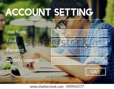 Account Setting Registration Password Log In Privacy Concept - stock photo