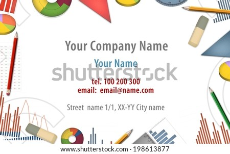 accountant bookkeeper economist business card background illustration - stock photo