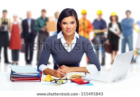 Accountant business woman working with laptop in office. - stock photo