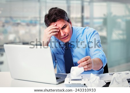 Accountant businessman working in office having a stress. - stock photo