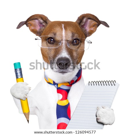 accountant dog with pencil and notepad - stock photo