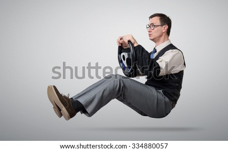 Accountant glasses is driving - stock photo