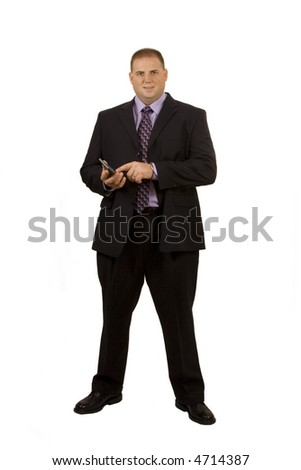 Accountant on white holding a calculator - stock photo