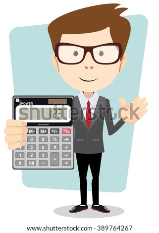 Accountant shows the calculator to work. Isolated on white background. Stock illustration. - stock photo