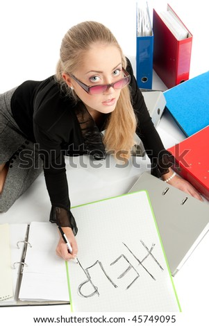 accountant siting near to stack of files - stock photo