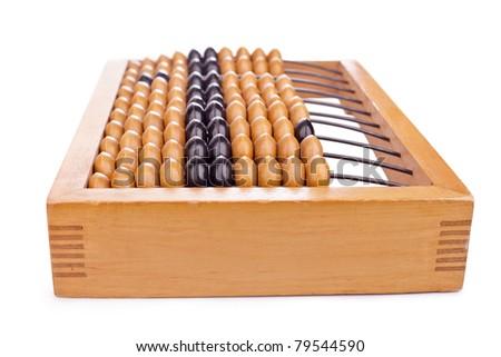 Accounting abacus isolated on white background - stock photo