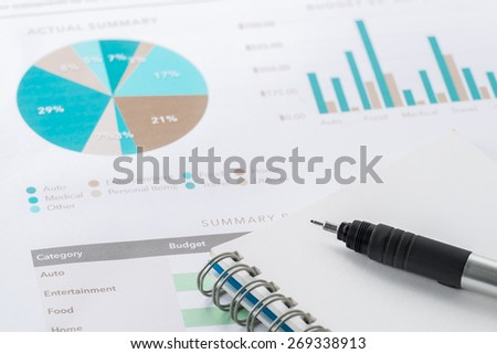 accounting business and financial report with pen .Document is mock up - stock photo
