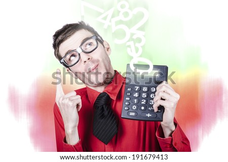 Accounting businessman showing income tax return growth on calculator when pointing up to rising numbers - stock photo