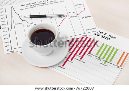 Accounting. Cup of coffee on document. chart and diagram - stock photo