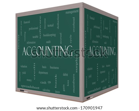 Accounting 3D cube Word Cloud Concept on a Blackboard with great terms such as debit, loss, audit, yield and more. - stock photo