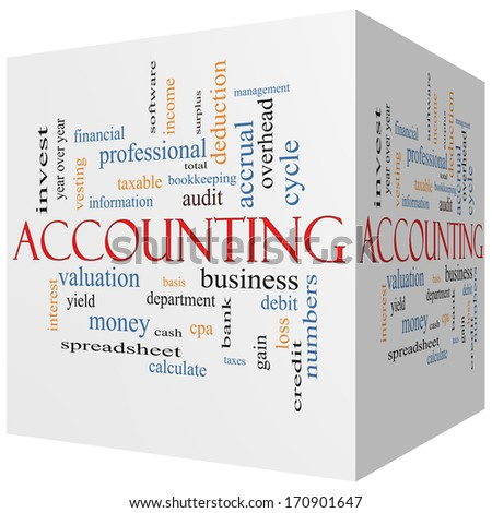 Accounting 3D cube Word Cloud Concept with great terms such as debit, loss, audit, yield and more. - stock photo