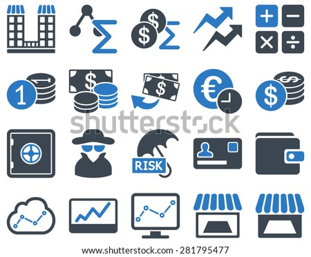 Accounting service and trade business icon set. These flat bicolor symbols use smooth blue colors. Clipart images are isolated on a white background. Angles are rounded. - stock photo