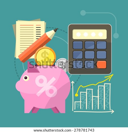 Accounting with digitial caculator. Financial management concept with item icons graph, pig, calculator, document page in flat design. Raster version - stock photo