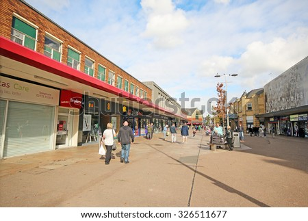 ACCRINGTON, UK - OCTOBER 9, 2015:  Shopping Arcade. Accrington is a town in the Hyndburn borough of Lancashire, England and is a former centre of the cotton and textile machinery industrie - stock photo