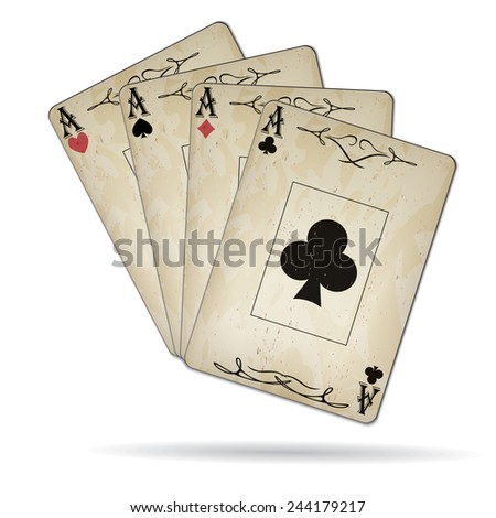 Ace of spades, ace of hearts, ace of diamonds, ace of clubs poker cards set old look - stock photo