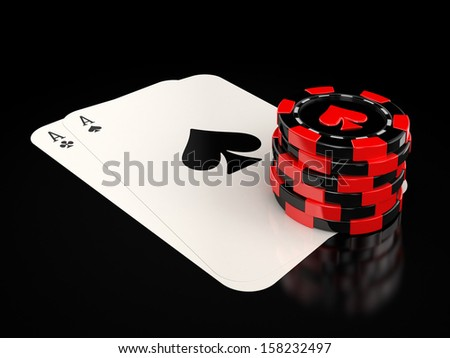 Aces and gambling chips - stock photo