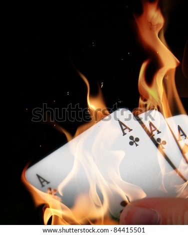 Aces in fire - stock photo