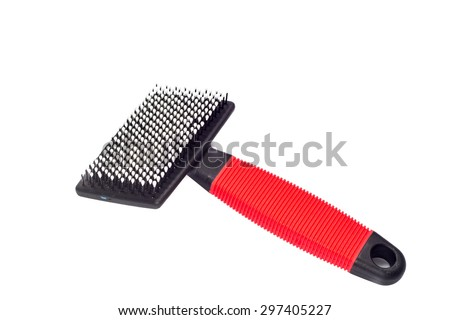 acessories for the grooming of the dog on white background - stock photo