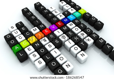 Achievement colorful box Crossword 3D render - stock photo
