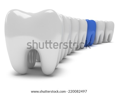 Aching tooth in row of healthy teeth isolated on white background. 3D render. Dental, medicine, health, out of crowd concept. - stock photo