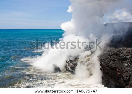 Acidic lava haze (laze) cloud - stock photo
