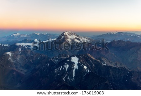 Aconcagua (6962 m) is the highest mountain in the Americas (aerial photo) on Chile to Argentina border - stock photo