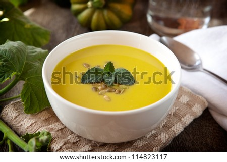 Acorn squash soup - stock photo