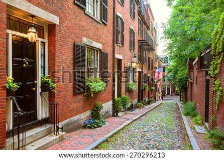Acorn street Beacon Hill cobblestone Boston in Massachusetts USA - stock photo