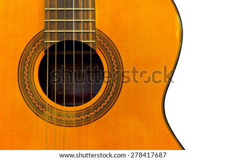Acoustic classical guitar isolated on white background. Close up - stock photo