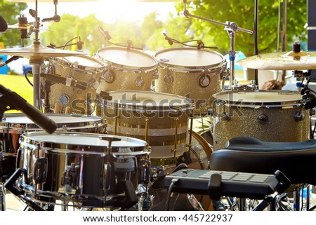 Acoustic drum set on stage before the concert - stock photo