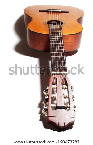 Acoustic guitar. Classical musical instruments isolated on white - stock photo