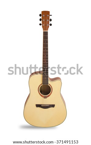 Acoustic guitar is isolated on the white background. - stock photo