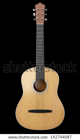 acoustic guitar isolated on black background - stock photo