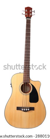 Acoustic guitar isolated on white - stock photo