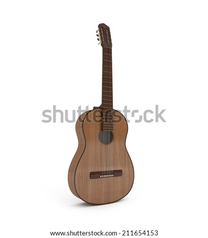 Acoustic Guitar isolated on white - 3d illustration - stock photo